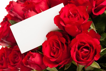 rose bouquet: Red roses with a blank gift tag