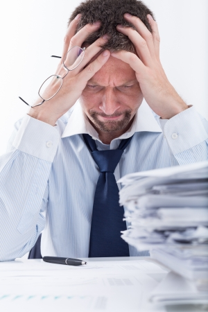 too: Man Stress Because Of Too much work  Stock Photo
