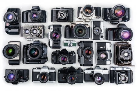 reflexes: Set of Vintage Film Cameras   Stock Photo