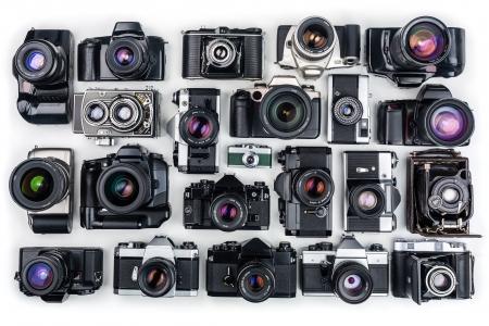 analog camera: Set of Vintage Film Cameras   Stock Photo