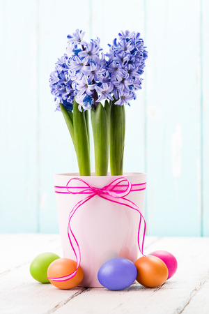 Blue hyacinth and colorful easter eggs.