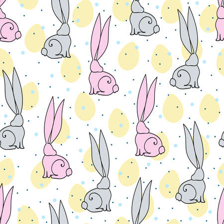 non   urban scene: Easter vector illustration with rabbits and  eggs.