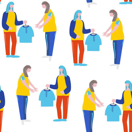 Girl donates clothes to another girl. Vector seamless illustration for card, webdesign.
