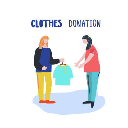 Girl donates clothes to another girl. Иллюстрация