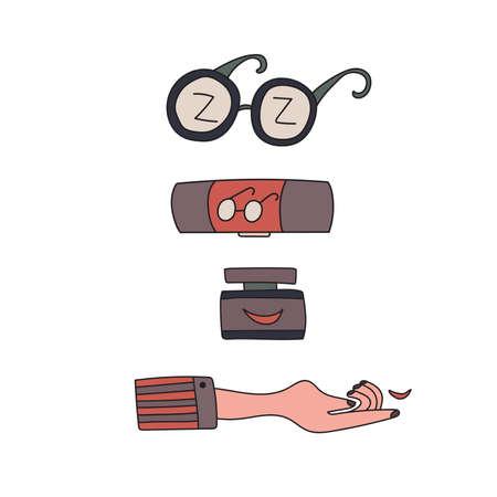 Set illustrations for ophthalmologic examination. Eyesight check. Vector illustration. Illustration