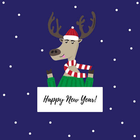 Cheerful deer in a cap, sweater and scarf. New year vector illustration.