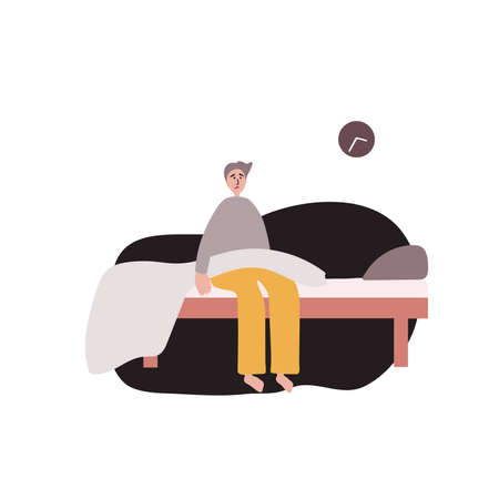 Insomnia. The young man woke up and cant sleep. Vector pattern on a white background. Ilustração