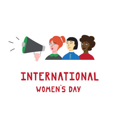 International women's day greeting card design. Handdrawn vector illustration. Illusztráció