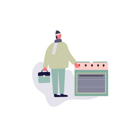 Obsessive-compulsive disorder. Intrusive double-checks. The man repeatedly checks the oven is off. Vector illustration.