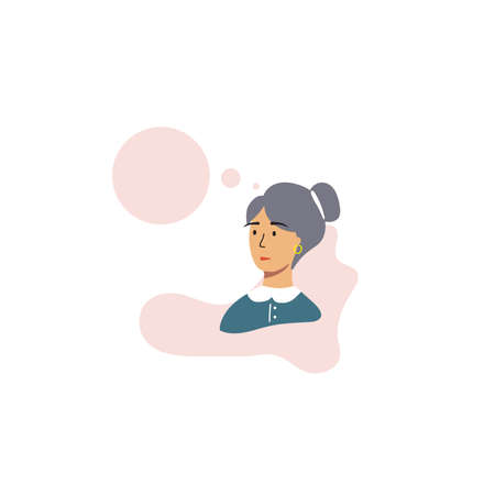 Flat image of a girl on a white background with speach bubble. Vector illustration.