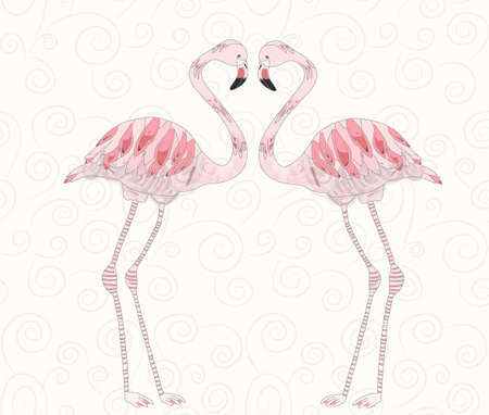sub: Beautiful vector illustration of pink flamingos couple on light background with spirals Illustration