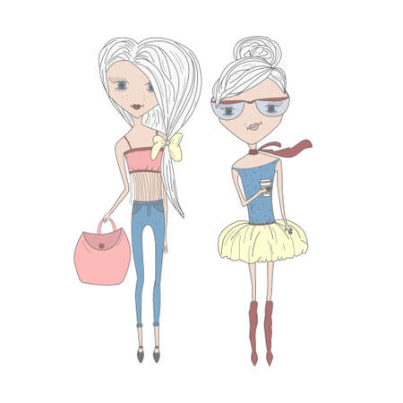 topknot: Vector illustration of a stylish cartoon girls. Fashionable, thin girls with a bag and coffee. Pretty friends. Girl with a topknot, wearing a skirt and scarf and girl wearing jeans with a big bag Illustration