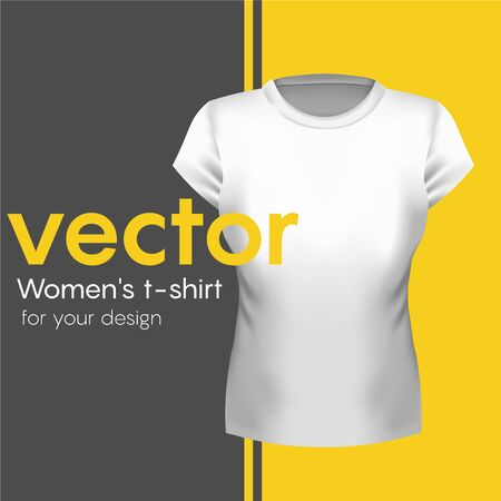Realistic white Womens T-shirt, Front. Vector illustration