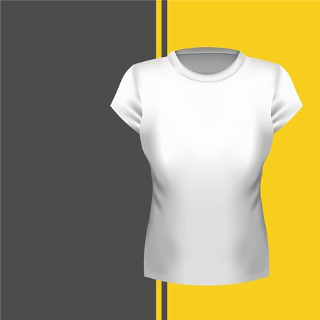 Womens T-shirt front view mockup, illustration. White tshirt blank template. Shirt for girls realistic mock up on background. 写真素材