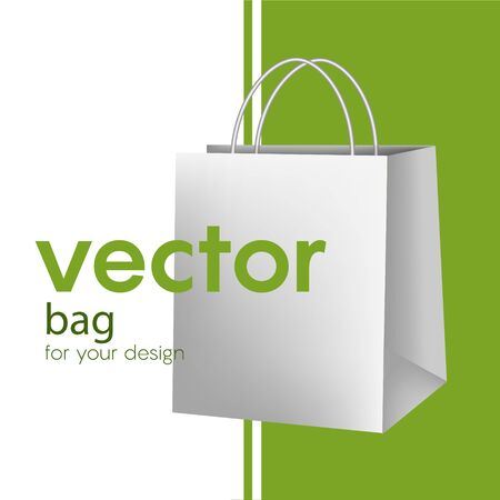Blank paper luxury gift package in White with handle mockup realistic vector illustration isolated on background. Empty shopping bag for advertising and branding.