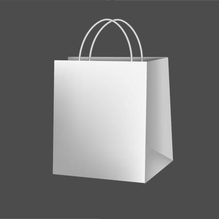 Blank paper luxury gift package in White with handle mockup 3d realistic illustration isolated on background. Empty shopping bag for advertising and branding. Rasterized 写真素材 - 128903724