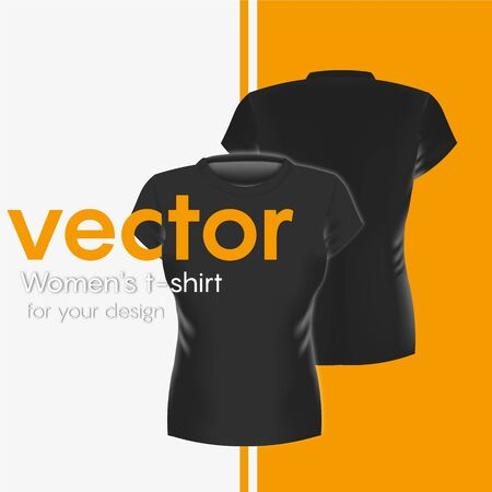 Realistic black Womens Tshirt, Front and Back. Vector illustration