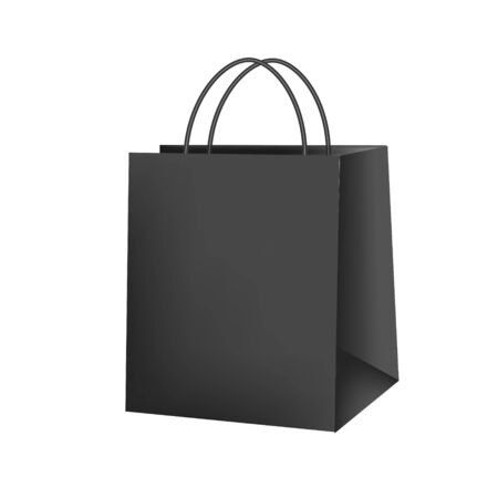Blank paper luxury gift package in black with handle mockup 3d realistic illustration isolated on white background. Empty shopping bag for advertising and branding. Rasterized 写真素材
