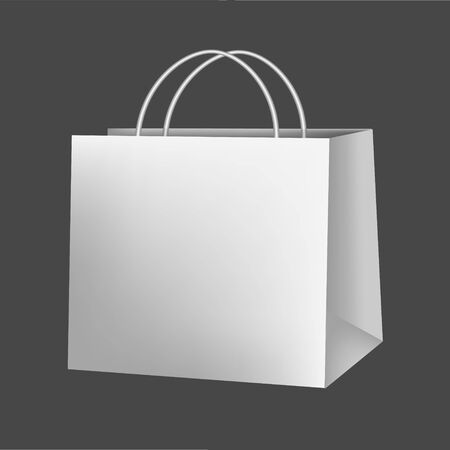 Blank paper luxury gift package in White with handle mockup 3d realistic illustration isolated on background. Empty shopping bag for advertising and branding. Rasterized