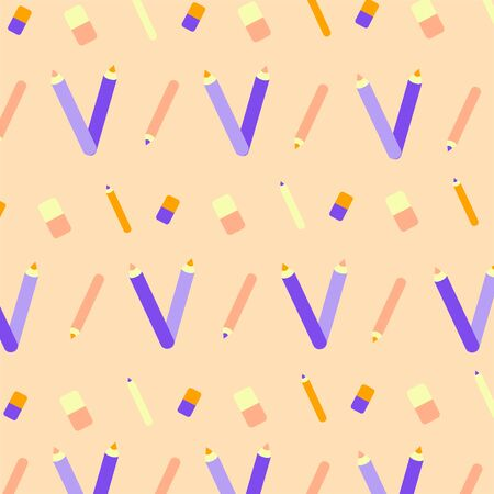 Seamless pattern. Repeated flat style, pencil, eraser for backdrop, wallpaper, landing page, site, print. Rasterized Copy