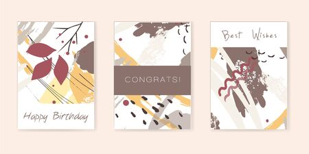 Set of artistic creative universal cards. Hand Drawn textures. Wedding, anniversary, birthday, Valentines day, party. Design for poster, card, invitation, placard brochure flyer Rasterized