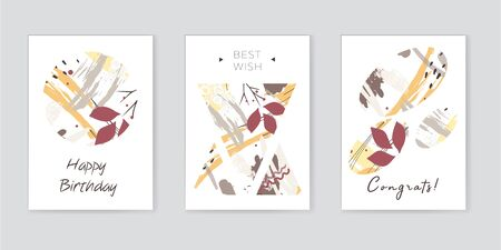 Set of artistic creative universal cards. Hand Drawn textures. Wedding, anniversary, birthday, Valentines day, party. Design for poster, card, invitation, placard brochure flyer Vector Isolated