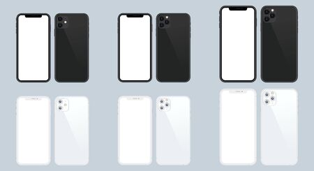 Set graphic realistic phone illustration. Smartphone black and white mockup frameless blank screen isolated on background. Front and back side. Concept for app, web, presentation, UI UX development.