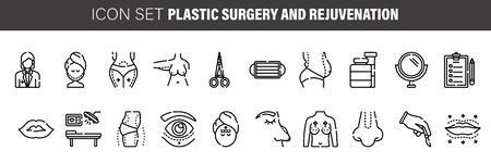 Medical: Cosmetic surgery icon set. Included the icons as faec, facial, beauty, aging, eye, nose and more. Çizim