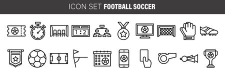 Soccer, Sport, Football outline icons set - Black symbol on white background. Simple Illustration Symbol - lined simplicity Sign. Flat Vector thin line Icon Çizim