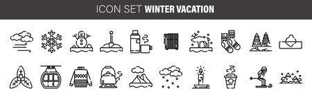 Winter line icons set. Vector line art winter icons illustration Illusztráció