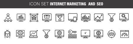 Set of Seo and internet Marketing Vector Line Icons. Contains such Icons as Mail Marketing, Target Audience, Keywording, Product and more. Ilustrace
