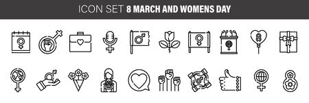Woman's day thin line icon set, international women's holiday symbols collection