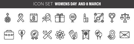 Woman's day thin line icon set, international women's holiday symbols collection, vector sketches Vectores