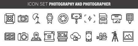 photographer and photography flat icon set. Collection outline symbols for web design, mobile app.