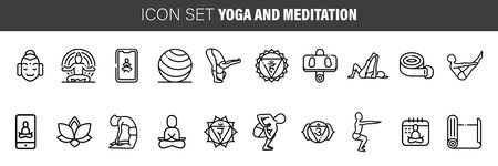 Meditation Practice and Yoga Vector Line Icons Set. Relaxation, Inner Peace, Self-knowledge, Inner Concentration Çizim
