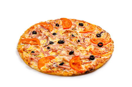 Pizza with ham, garlic sauce, pickled cucumbers, red onion, tomatoes, olives, cheese, greens. White isolated background.