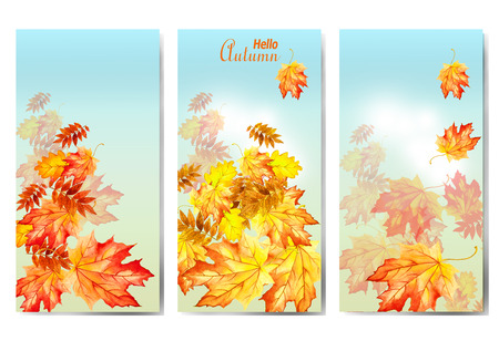 Set of three banners with colorful autumn leaves. Watercolor illustration
