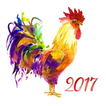 수탉. 수탉 년. 닭의 중국 설날입니다. 수채화 수탉 신년 카드.