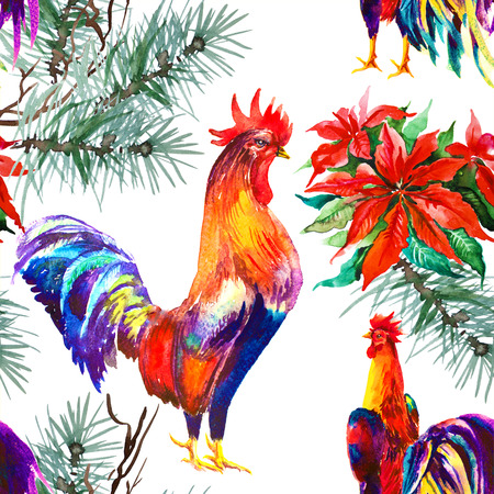 Rooster. Rooster Year. Chinese New Year of the Rooster. Watercolor Rooster New Year seamless pattern