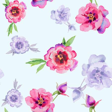 Watercolor flowers peonies. Handmade greeting cards. Seamless pattern 版權商用圖片
