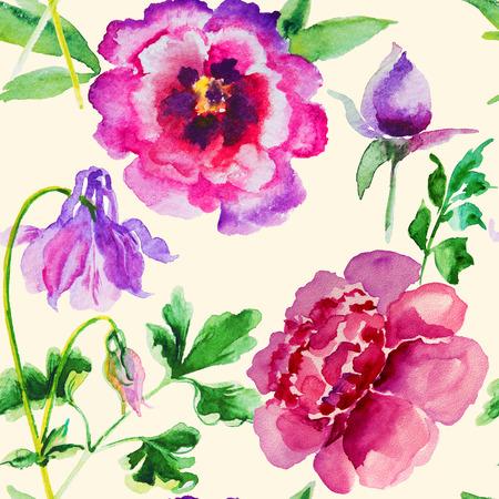 Pink, violet peony watercolor, bud. Seamless pattern 版權商用圖片