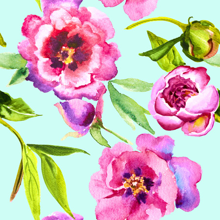 peony watercolor, bud and leaf. Seamless pattern
