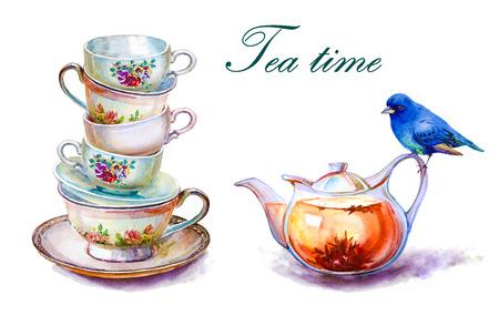 Partie de tasses à thé colorés et soucoupes closeup. Croquis à la main. Carte postale pour la Saint-Valentin. Illustration aquarelle. Banque d'images - 85987179