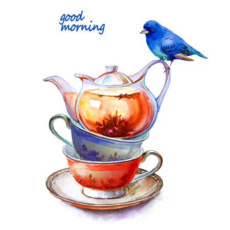 Party colorful tea cups and saucers with blue bird closeup. Sketch handmade. Postcard for Valentine's Day. Watercolor illustration. 版權商用圖片 - 85987180