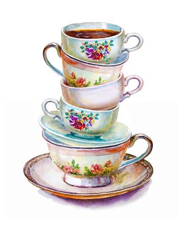 Partij kleurrijke thee kopjes en schoteltjes close-up. Schets handgemaakt. Briefkaart voor Valentijnsdag. Aquarel illustratie.