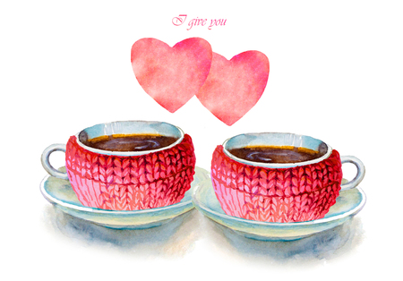 Party colorful tea cups and saucers with hearts closeup. Sketch handmade. Postcard for Valentines Day. Watercolor illustration.