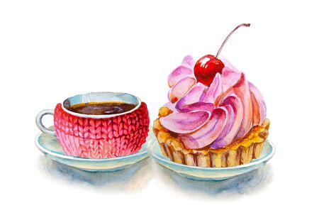 Party colorful tea cups and saucers with cake closeup. Sketch handmade. Postcard for Valentines Day. Watercolor illustration.