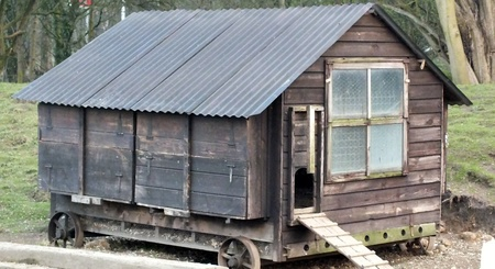 vintage hen house on wheels photo