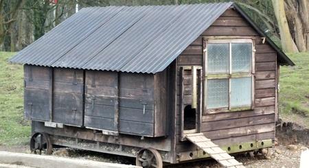 vintage hen house on wheels photo