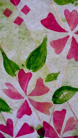Floral background design using tissue paper, ink and acrylic
